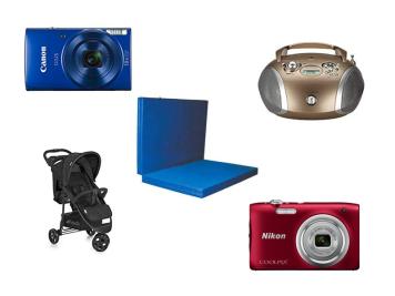 Abbildungen der Anschaffungen im Januar 2019: Kameras, CD Player, Buggy und Turnmatte
